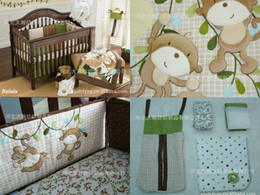 Wholesale Embroidered Baby Cot Crib Bedding - Wholesale-Embroidered Monkeys frolic  stitching Baby Cot Crib Bedding include Quilt Bumper Mattress Cover Bed Skirt Blankets Diaper Bag