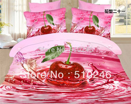 Wholesale Duvet Covers Cherry - Wholesale-new arrival drop shipping cotton feel fruit cherry printed flat sheet set bed linen duvet cover bedding set