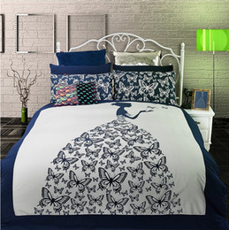 Wholesale Butterfly Twin Comforter - Wholesale-Girls bed set Butterfly comforter Cover sets quilt cover Set reactive print IKEA Twin Queen king size fitted Sheet sets