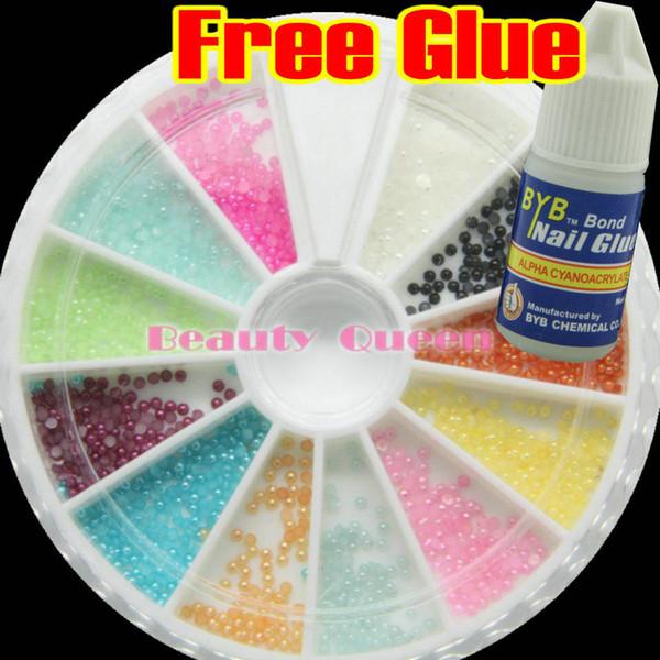 best selling 10 Pcs Lot Half Baby Pearl 2mm 12 Color Nail Art Rhinestone Wheel Acrylic Decoration +Glue FREE SHIP