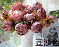 Wholesale Large Artificial Peony - Wholesale-Flower Vintage Noble Large Peony Bouquet Home Coffee Table Room Office Hotel Store Decorations Artificial Flowers