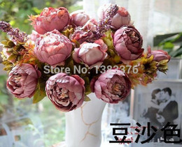 Wholesale Artificial Flower Bouquet Large - Wholesale-Flower Vintage Noble Large Peony Bouquet Home Coffee Table Room Office Hotel Store Decorations Artificial Flowers