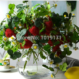 Wholesale Strawberry Furniture - Wholesale-New Foam Wedding Home Furniture table centerpiece Decor 3 Branch x 6 set Artificial Strawberry Fruit Flower Plant Red FL1672