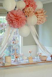 "Wholesale Pink Paper Garland - Wholesale-DIY 14"" (35 cm) Decorative Flowers Multicolor Large Tissue Paper Pom Poms Flower Balls for Wedding Garland Centerpieces"