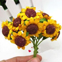 Wholesale Sunflower Wedding Supplies Wholesale - Wholesale-100pcs artificial Mini Sunflower Flower crafts and scrapbooking flower decoraion for garland wedding Gift box Card DIY Supplies
