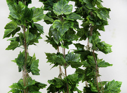 Wholesale Indoor Garland - Wholesale-10PCS like real artificial Silk grape leaf garland faux vine Ivy Indoor  outdoor home decor wedding flower green christmas gift