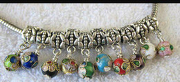 Wholesale Mixed Cloisonne Charms - 60PCS Mixed Color Cloisonne bead charm dangle fit charm M7236-245