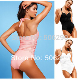 Wholesale Sexy Cheap One Piece Swimsuits - Wholesale-Womens One-piece Swim Wear Solid Color Sexy Crossover Design Swimsuit Cheap High Waisted Swimwear