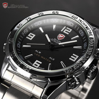 Wholesale Shark Wrist - Wholesale-Fashion SHARK Analog LED Dual Time Date Day Alarm Silver Stainless Steel Waterproof Black Sport Quartz Wrist Men's Watch