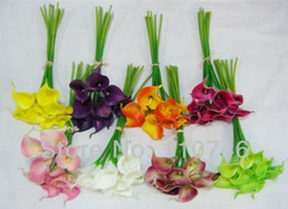 Wholesale Best Artificial - Wholesale-(36pcs lot)2015 Best Real Touch Flowers For Bouquets Calla Lilies PU Leather Artificial Latex Flowers Wedding Bridal 11 Colors