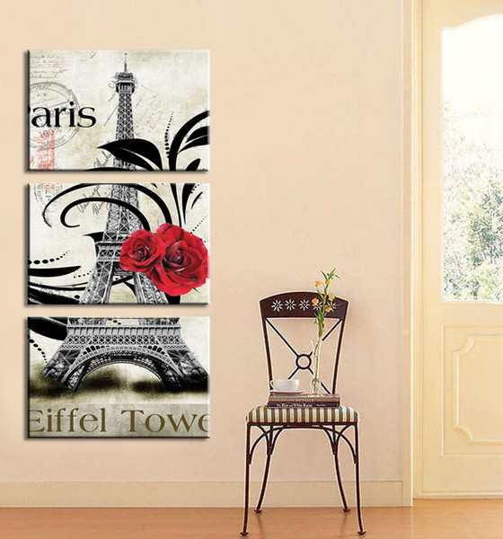 Wholesale-2015 New oil style Painted Cheap Wall Painting pictures paris Eiffel Tower Home Decoration Abstract Landscape On Canvas Unframed