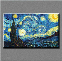 Wholesale Oil Reproduction Van - Wholesale-Free shipping Free hongkong air mail High quality Van Gogh starry sky on canvas reproduction handmade oil painting