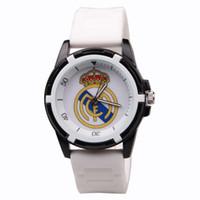 menino crianças relógios venda por atacado-Atacado-Reloj Hombre Real Madrid fãs lembranças homens moda Casual Sports Watch Silicone quartzo relógios de pulso para crianças meninos