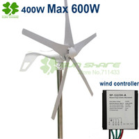 Wholesale Generator Small Wind Turbines - Wholesale-wind power turbines 5blades 400w ,Max 600w wind generators + small wind controller 12v 24v auto change for home ,street lamp