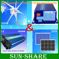 Wholesale Solar Wind Hybrid System - Wholesale-free shipping! 500watt wind solar hybrid system for home build on the roof wind generator +controller+solarpanel+inverter
