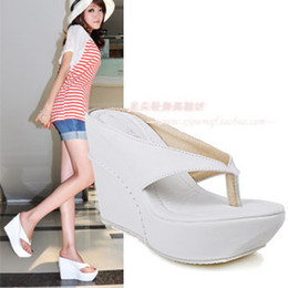 Wholesale wedges heels slippers - Wholesale-White beach flip-flop flip flops ultra high heels platform wedges women's plus size shoes 40 - 43 slippers