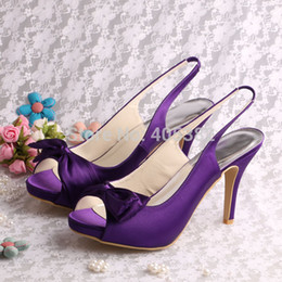 Wholesale High Heels Dropshipping - Wholesale-(13 Colors)Hot Selling Purple Satin Ladies Bow Sandal Shoes Slingback High Heeled Size 10 Dropshipping