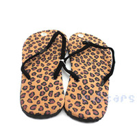 Wholesale Thongs Leopard Print Wholesale - Wholesale-Leopard Chic Men Womens Summer Casual Beach Printing Thong Flip Flop Sandals Shoes New