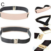Wholesale Gold Metal Belts For Women - Elastic Mirror Metal Waist Belt Leather Metallic Bling Gold Plate Wide Obi Band for Women Female Accessories Dress 2015 New Free Shipping