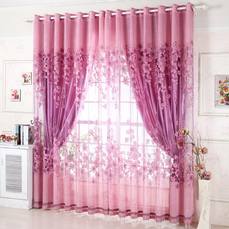 2018 Wholesale Window Treatment Luxury Curtains+Tulle Beads Purple ...