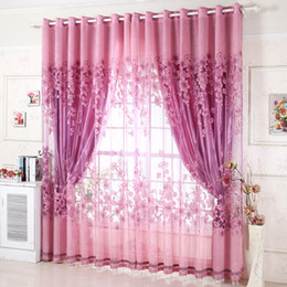 Wholesale Ready Made Curtain Window - Wholesale-Window Treatment Luxury Curtains+Tulle Beads Purple Brown 100% blackout Ready Made Curtain For LivingRoom 3m 4 panels