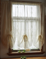 Wholesale Cherry Blossom Panel - Wholesale-1 Panel White Cherry blossoms Hollow Embroidered imitated Cross Linen Balloon Curtain 100% Handmade Carved Finished Curtain
