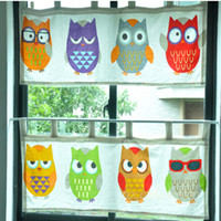 Wholesale S amp V Creative Owl window curtains short door cortinas Cartoon Cotton drapes coffee curtains christmas new year home