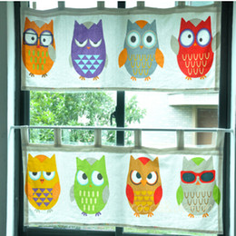 Wholesale Red Sheer Curtains - Wholesale-S&V Creative Owl window curtains short door cortinas Cartoon Cotton drapes coffee curtains christmas new year home