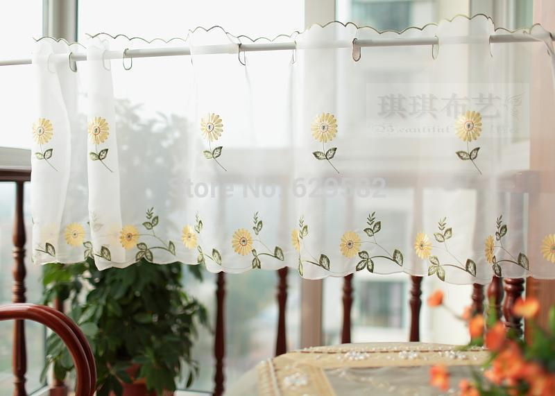 Wholesale Fashion Daisy Semi Shade Coffee Kitchen Curtain Flowers Short  Finished Product Curtains Free Shipping