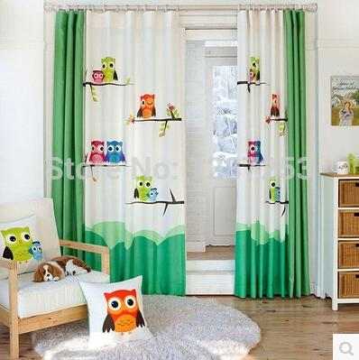 Wholesale Pastoral Cartoon Owl Kids Room Curtain Window For Living Baby Curtains Home Decoration Cortina Door Panels Modern