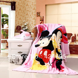 Wholesale Coral Fleece Bedspread - Wholesale-Mickey Minnie mouse soft coral fleece blankets can be quilt bedspread bed sheet for child,Free shipping