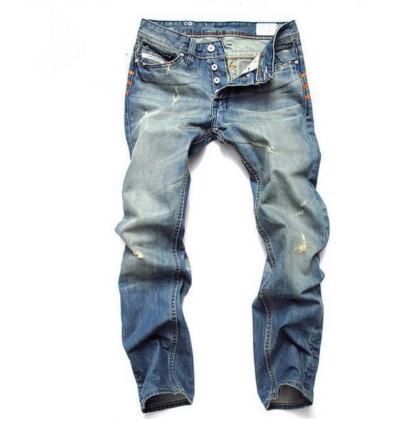 Cat Hole Jeans men Straight Ripped Jeans For Men Printed Fashion Designer Jeans Top Quality