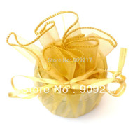 Wholesale Gold Organza Circles - Wholesale-100 pcs Gold Circle Wraps Organza Round Bags Wedding Favors Party Gift Pouch