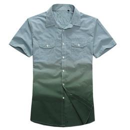 Wholesale Dip Dyed Shorts - Wholesale-FREE SHIPPING Lesmart 2015 Summer men shirt short sleeve dip dye gradient fashion casual plaid mens dress slim fit shirts camisa
