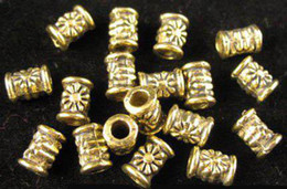 Wholesale Golden Metal Spacer Bead - 600Pcs Alloy Metal Antiqued golden Flower tube spacer beads A485G