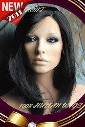"$enCountryForm.capitalKeyWord Australia - XCSUNNY 10"" Silky Straight #1Jet Black Indian Remy Human Hair Lace Front Wigs"