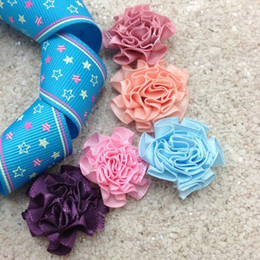Wholesale Mixed Satin Ribbon - Wholesale-250pcs freeshipping (mix order) 3 cm Satin Ribbon Flower Cabbage Rose Flowers Many Colors Available 1-469