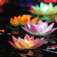 Wholesale Paper Lotus Flower Floating Candle - Wholesale-2015 Easter Colorful Paper Lotus Lamp Floating Candles Purple Lanterns Wedding Wishing Water Flower Candle Decoration Wholesale