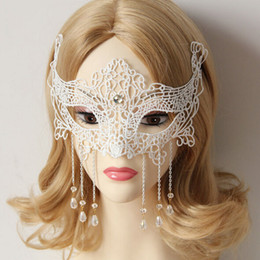 Wholesale Woman Ghost Costume - Wholesale-Trendy Halloween Masks for Adults,Ghost Dance Crystal White Lace Masquerade Masks for Women Men,Costume Ball Party Marks Woman