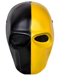 máscara de malla de alambre Rebajas Al por mayor-FMA Paintball Wire Mesh Army of Two Mascarilla facial bioquímica Negro amarillo