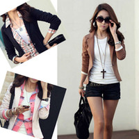 Wholesale Trendy Suits - Wholesale-2015 New Trendy Slim Blazer Women ELEGANT LAPEL ONE BUTTON LONG SLEEVE Blazer Woman SHORT SUIT Jacket Lady BLAZER COAT J3928