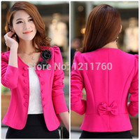 Wholesale Trench Jacket Suit - Wholesale-new 2015 spring women's o-neck blazer double breasted blazer red slim short jacket trench Three Quarter suits plus size M-XXXL