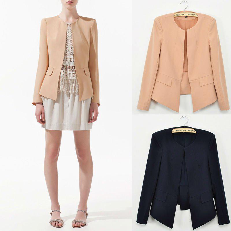 2017 Wholesale New 2015 Casual Blazer Women Suit Crew Neck None ...