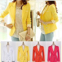 Wholesale Coats For Women Korea - Wholesale-New 2015 Arrival Korea Style yellow Blazers Clothes coat for Women Candy Color White Red For Ladies Top Jacket LS270