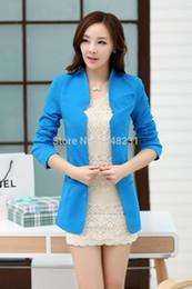 Wholesale Boyfriend Blazer Women - Wholesale-Spring New Blazer Feminino 2015 Women Boyfriend Solid Red Color Casual Coat and Jackets Women Slim Long Blazer High Quality