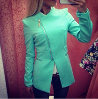 Wholesale Turquoise Green Fabric - Wholesale-2015 zipper jacket Corn kernels polyester fabric oblique turquoise large lapel Women Casual Coats