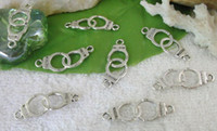 Wholesale Silver Link Connector - 150pcs of Tibetan silver metal handcuffs connector links A10141