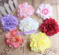 Wholesale Artificial Dahlias Flower Heads - Wholesale-20pcs 6 Color Dahlia Silk Flower Artificial Flower Head Diy Hair Accessory Hat Clothes Decoration For Wedding Supplies Flower