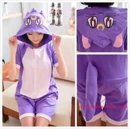 Wholesale Ears Hood - Wholesale-100% Cotton Sailor Moon Diana Luna Cat Anime Animal Cartoon Women Men Female Summer Onesie Cosplay Pajamas with Hood Ears Tails