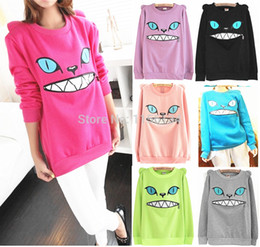 Chemisier À Oreille Pour Chat Pas Cher-Gros-Colored Zipper sourire Mouth épaule 3D Ear Cat avant Jumper à manches longues Fleece SweartShirt Top
